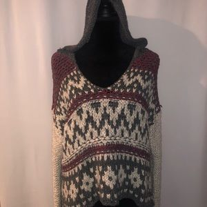 Free People Tops - Free People Fairisle Hooded Knit Pullover Sweater